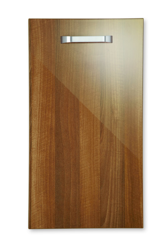 Mirano Reflections Modern Contemporary Walnut HiGloss Gloss Painted Slab Kitchen Door