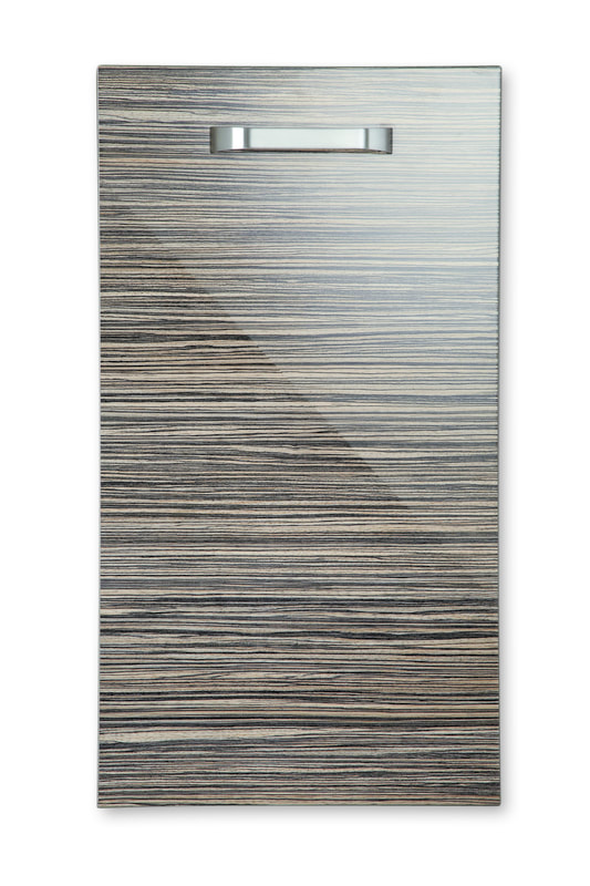 Mirano Reflections Modern Contemporary Zebrano HiGloss Gloss Painted Slab Kitchen Door